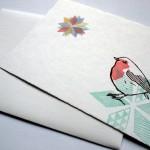 Linoldruckpostkarte mit tollem Rotkehlchenmotiv
